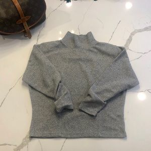 EXPRESS TRICOT, Gray Long Sleeve, Cropped Top M